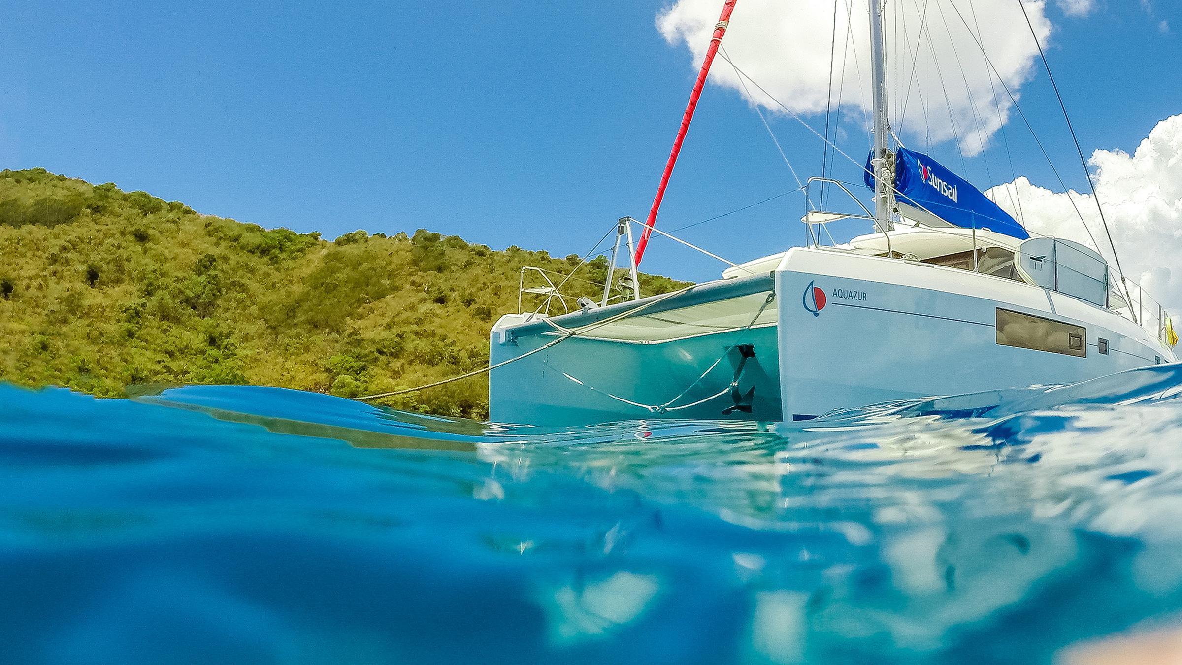 catamaran with wave
