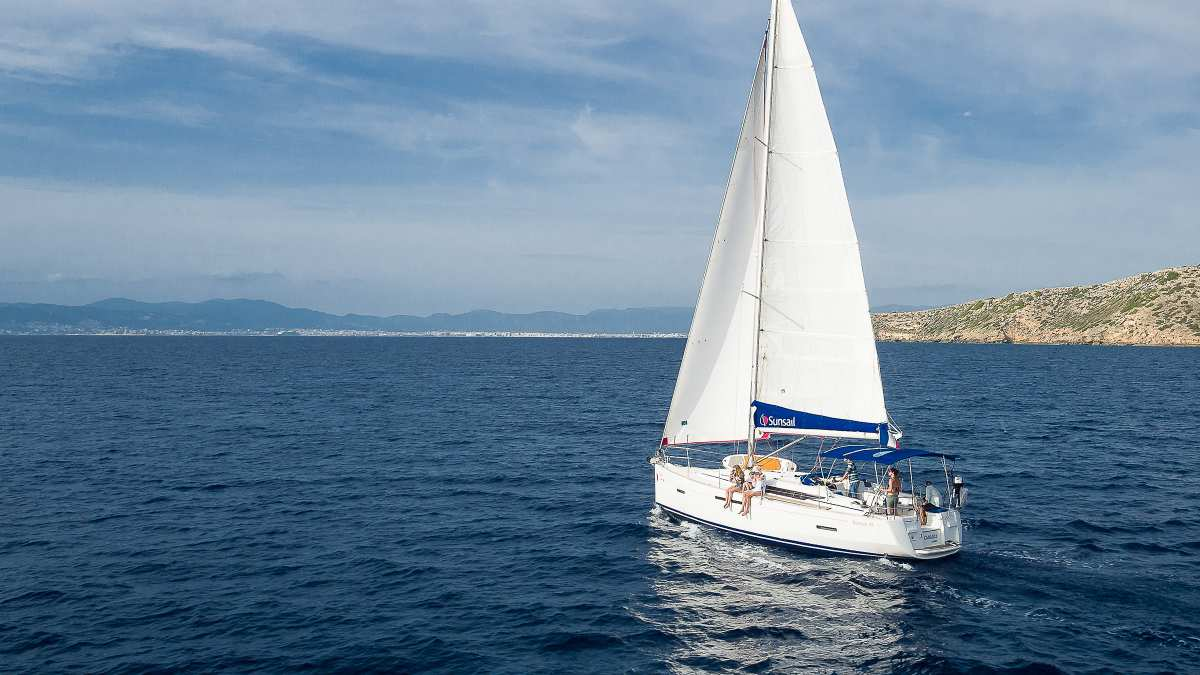 Sunsail yacht sailing on the open sea