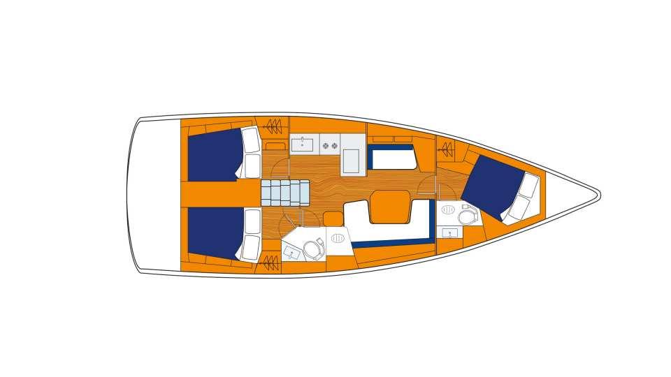 Sunsail 41.1 monohull met 3 cabines plattegrond