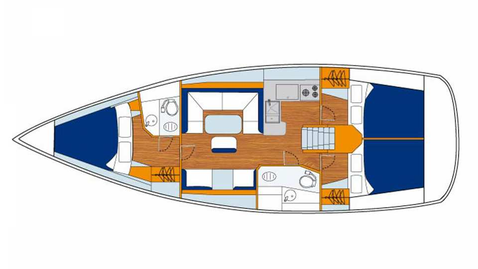 Floor plan of Sunsail 41 - 3 cabin