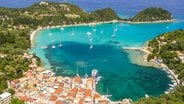 Top view of Catamarans Anchoring at Corfu Island Greece
