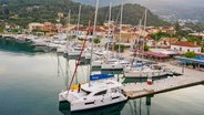 Sunsail Catamaran Anchored at Corfu Island Greece